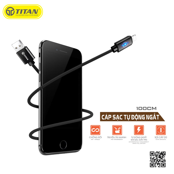 TITAN cable Lightning đèn LED tự ngắt CL09 (1m) hình 1