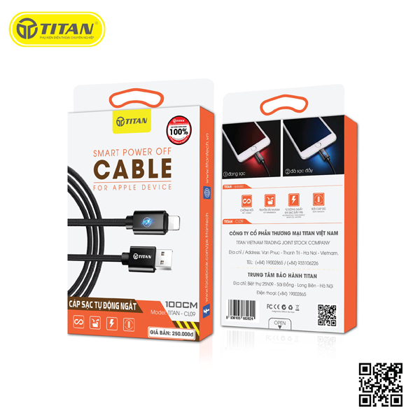 TITAN cable Lightning đèn LED tự ngắt CL09 (1m) hình 2