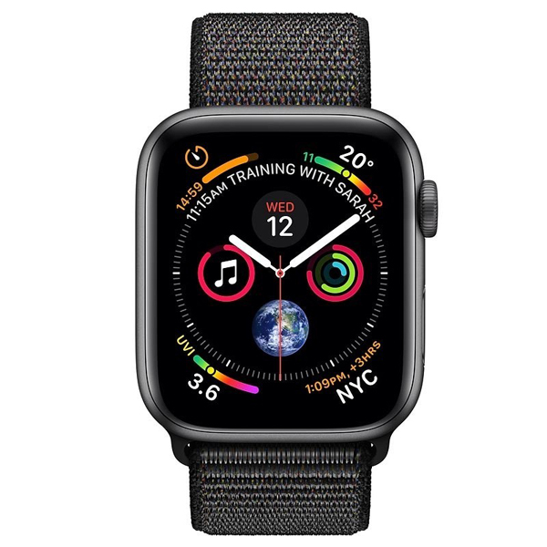 Apple Watch Series 4 44mm GPS Space Black Aluminum Case with Black Sport Loop MU6E2 hình 1