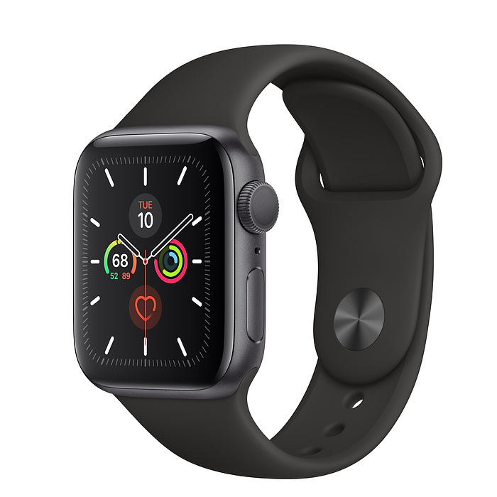 Apple Watch Series 5 40mm GPS Space Gray Aluminum Case with Sport Band Black MWV82 hình 0