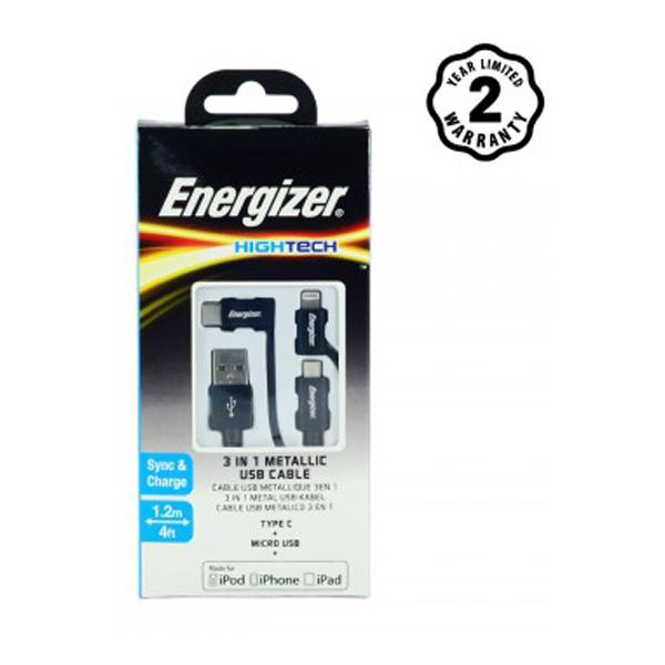 Cáp Energizer 3in1 Metallic Lightning-Micro-TypeC C13UBX3CF (1m2) hình 1
