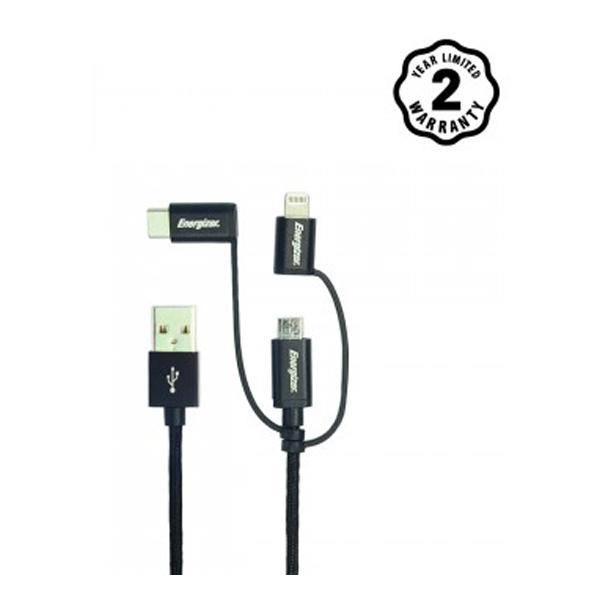 Cáp Energizer 3in1 Metallic Lightning-Micro-TypeC C13UBX3CF (1m2) hình 0