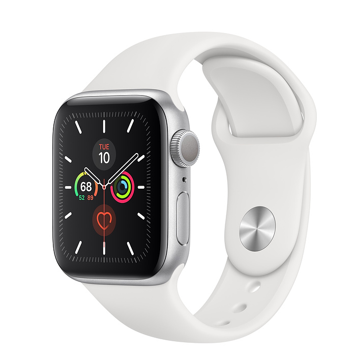 Apple Watch Series 5 44mm Silver Aluminum Case with Sport Band White MWVD2 hình 0