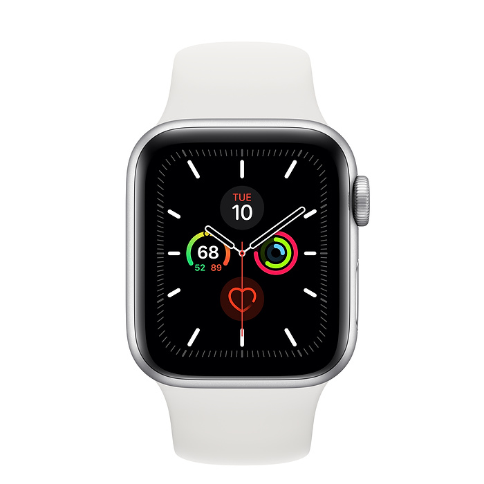 Apple Watch Series 5 44mm Silver Aluminum Case with Sport Band White MWVD2 hình 1