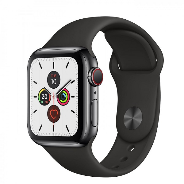 Apple Watch Series 5 40mm LTE Space Black Stainless Steel Case with Sport Band Black MWWW2 hình 0