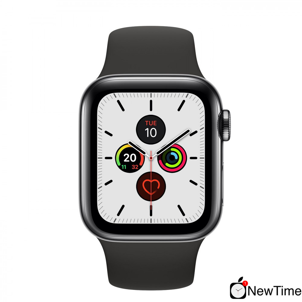Apple Watch Series 5 40mm LTE Space Black Stainless Steel Case with Sport Band Black MWWW2 hình 1