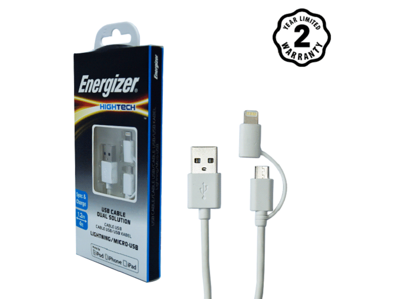 Energizer cable 2 cổng Lightning-Micro USB C11UBDUGWH4 (1m)