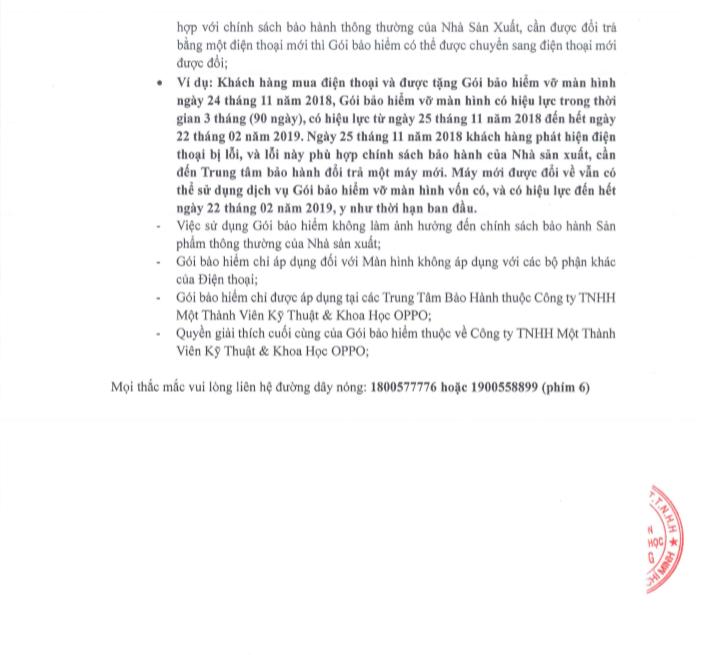 Thông tin chi tiết Gói bảo hiểm rơi vỡ màn hình dành cho Oppo A7 hình 5