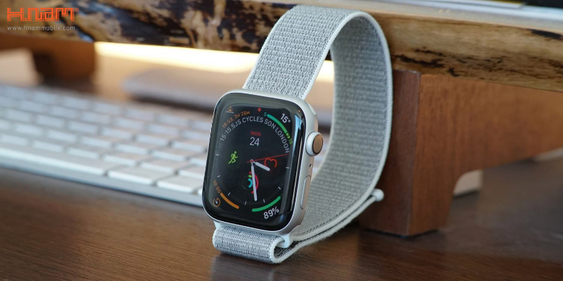 on sale d8fc7 1defa Apple Watch Series 4 44mm GPS Silver Aluminum Case with Seashell Sport Loop  MU6C2