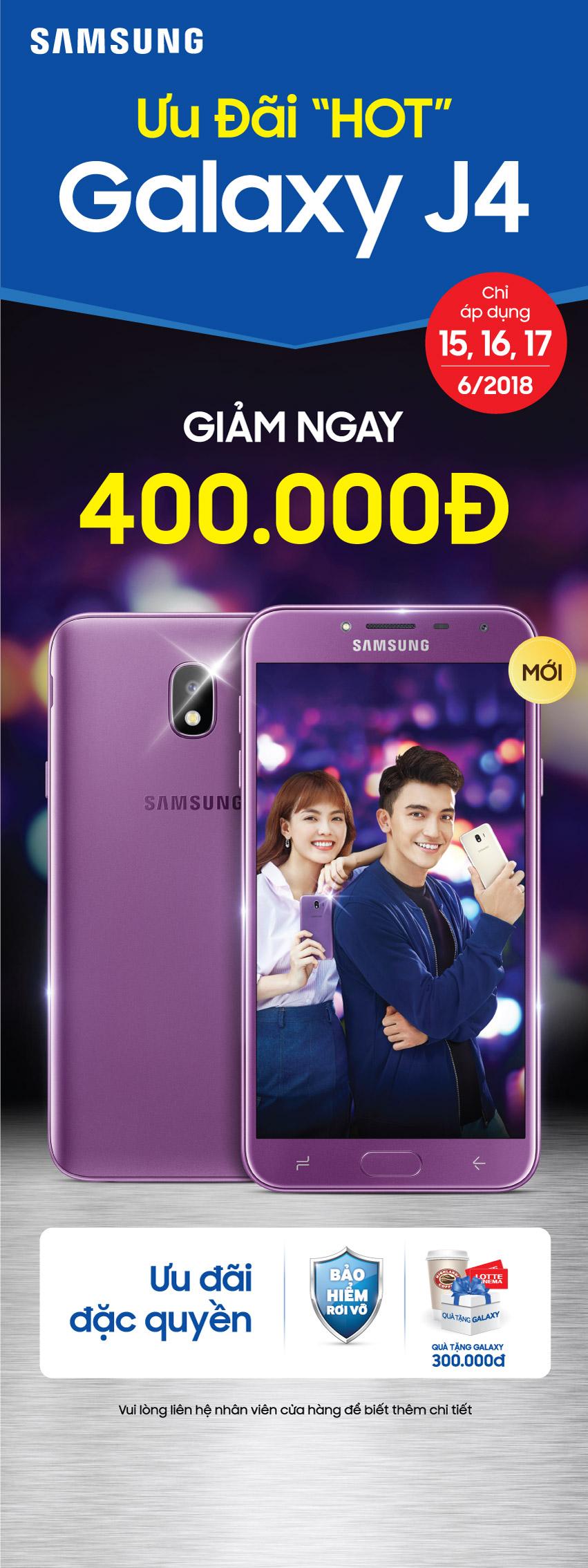 Ưu đãi HOT Galaxy J4 giảm ngay 400.000đ khi mua từ ngày 15 đến 17/6 hình 1