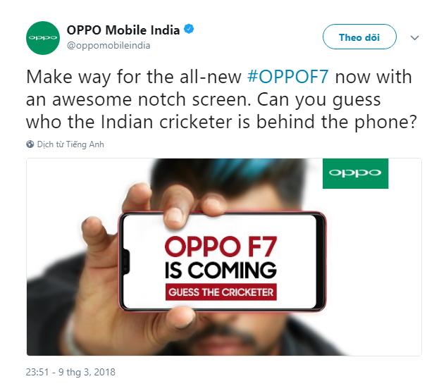 OPPO xác nhận OPPO F7 có màn hình tai thỏ, ra mắt vào 26/03 tại Ấn Độ hình 2