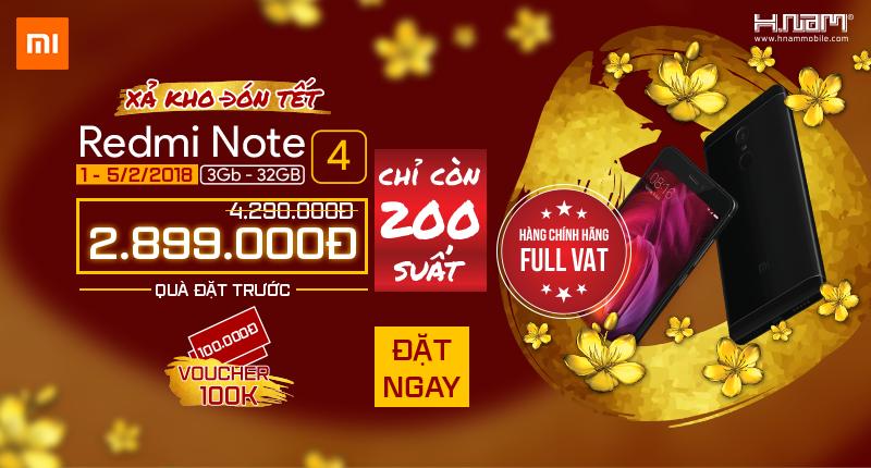 Duy nhất tại Hnam: Xiaomi Redmi Note 4 giá shock 2.89 triệu, chỉ còn 200 suất hình 1