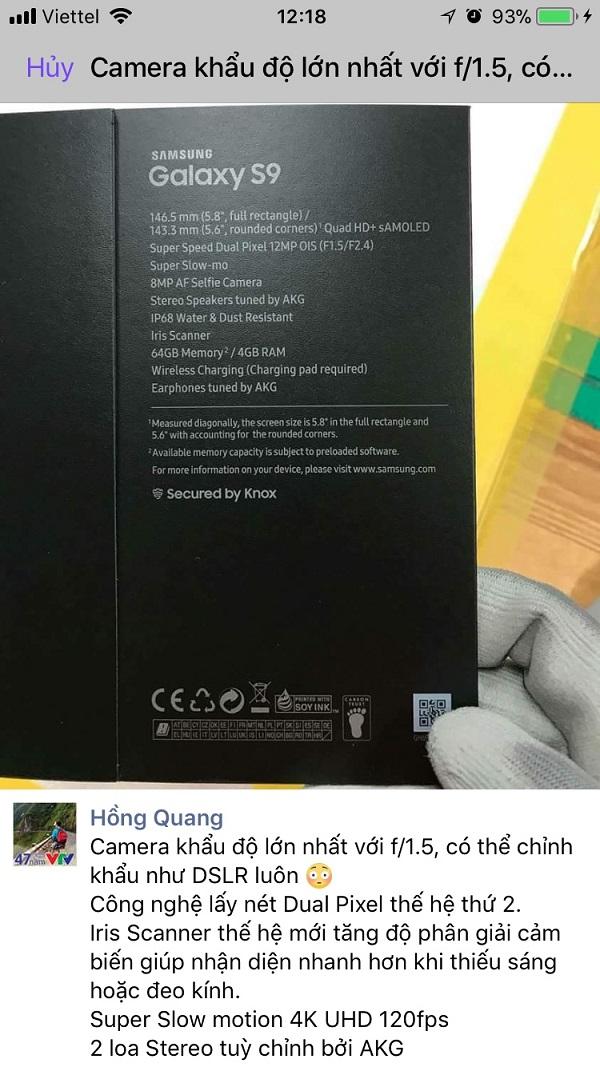 Galaxy S9 bất ngờ rò rỉ thông tin cấu hình camera khủng trên vỏ hộp hình 2