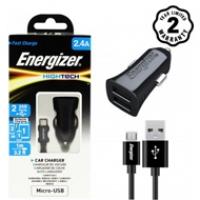 Sạc xe hơi Energizer 2.4A 2 cổng USB (kèm cáp Micro USB) DCA2BHMC3