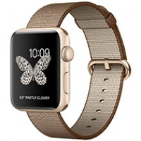 Apple Watch Series 2 42mm Gold Aluminum Case with Toasted Coffee/Caramel Woven Nylon MNPP2