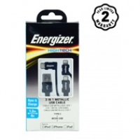 Energizer cable 3in1 Metallic Lightning-Micro-TypeC C13UBX3CF (1m2)