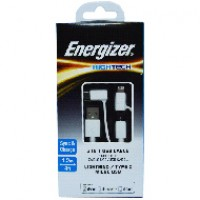 Cáp Energizer 3 in 1 Lightning-Micro-Type C C11UBX3CFWH4 (1m)