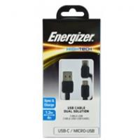 Cáp Energizer 2in1 Micro-TypeC C11UBX2CFBK4 (1m2)