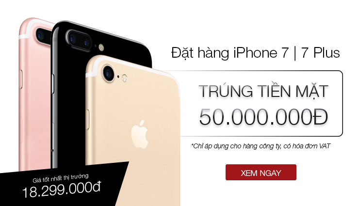 Đặt iPhone 7 - Trúng 50tr