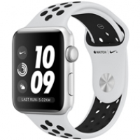 Apple Watch Series 3 38mm Silver Aluminum Case with Pure Platinum/Black Nike Sport Band MQKX2 99%
