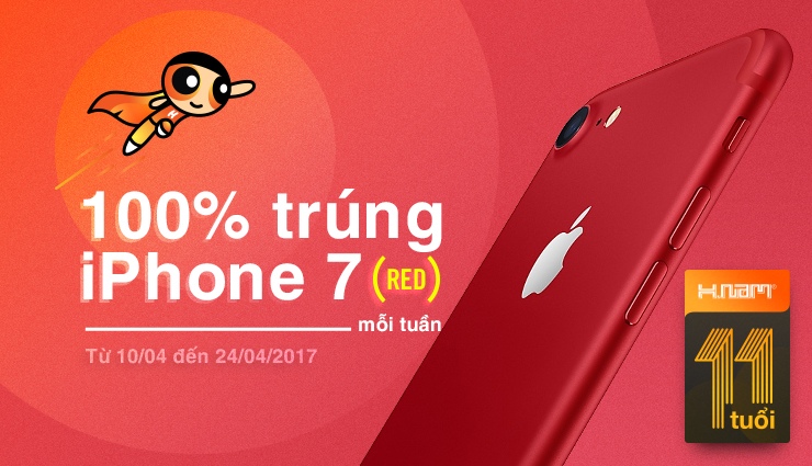 100% trúng iPhone 7 red
