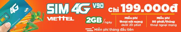 Viettel V90 2GB/ ngày, giá chỉ 199.000đ
