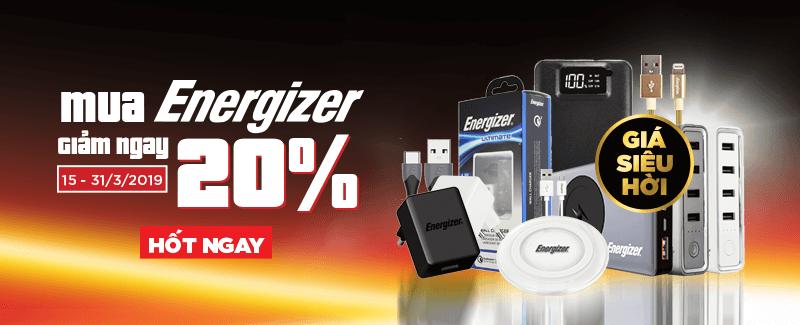 Energizer giảm giá 20%