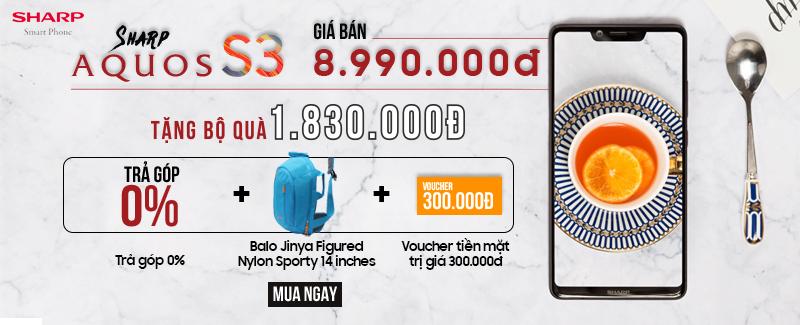 Sharp Aquos S3 giá chỉ 8.990.000đ, Quà hot