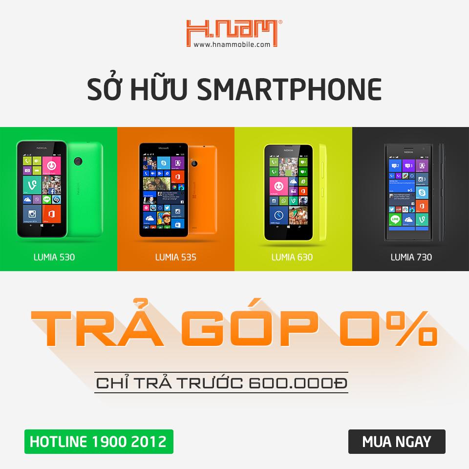 Mua Lumia - trả góp lãi suất 0% tại Hnam Mobile