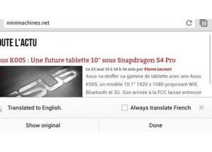 Google Chrome cho Android có khả năng tự dịch ngôn ngữ