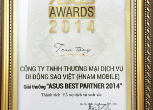 Hnam Mobile vinh dự nhận giải hỗ trợ dịch vụ xuất sắc của ASUS.