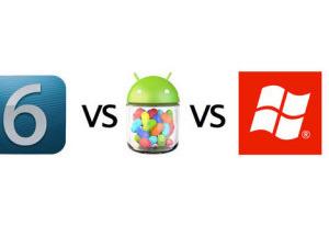 iOS 6, Android 4.1, WP 8 so điểm mới