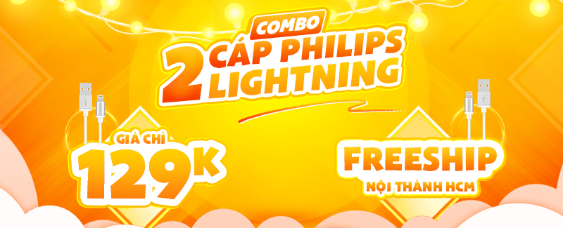 Combo 2 Cáp Lightning Philips Giá Chỉ 129k + FreeShip
