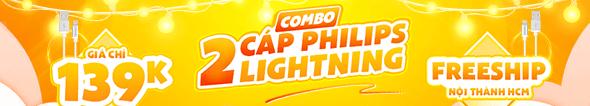 Combo 2 Cáp Lightning Philips Giá Chỉ 139k + FreeShip