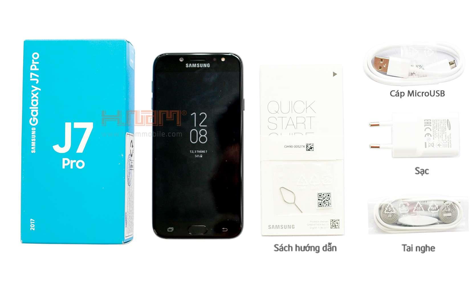 Hình ảnh tham khảo nguyên hộp phụ kiện Samsung Galaxy J7 Pro bao gồm: